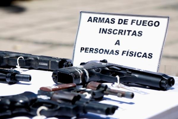 06/03/2019. Destrución de armas utilizadas en delitos. Bulevar de la Asamblea Legislativa, San José, Costa Rica. Fotografía: Lilliam Arce.