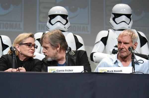 Carrie Fisher, Mark Hamill, y Harrison Ford hablaron con los fanáticos de Star Wars en el Comic-Con de San Diego.