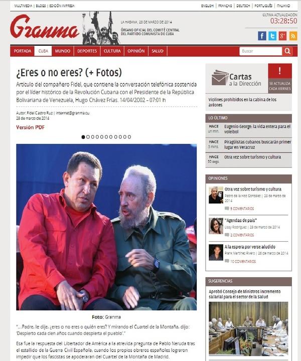 Fidel Castro publicó folleto sobre una conversación que sostuvo con el entonces presidente de Venezuela, Hugo Chávez.