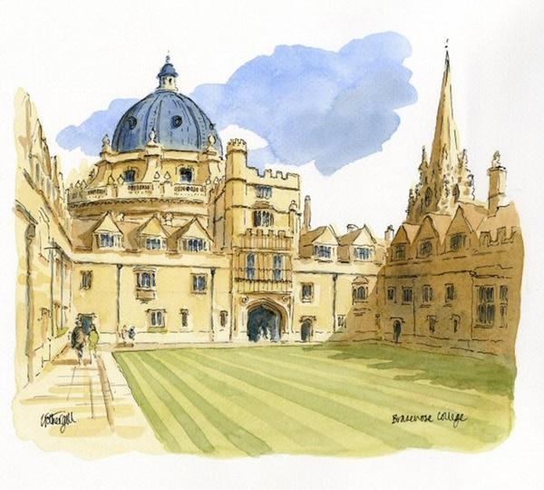 Pintura de acuarela de la Universidad Brasenose, Oxford.