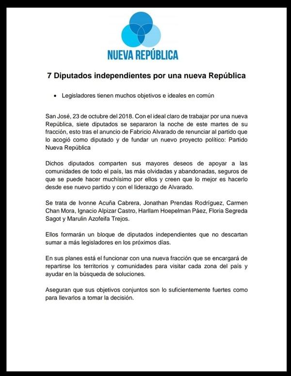 Con este comunicado, el partido Nueva República anunció a los siete diputados que dejan Restauración Nacional.