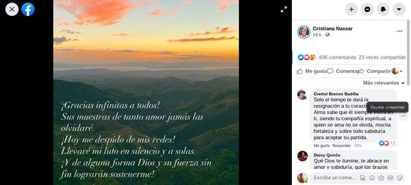 Con esta imagen y mensaje, la presentadora Cristiana Nassar anunció que se retira de las redes sociales. Foto: Facebook.