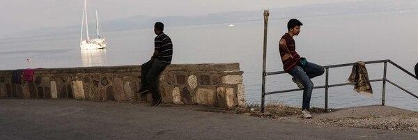 Migrantes en Lesbos, Grecia.