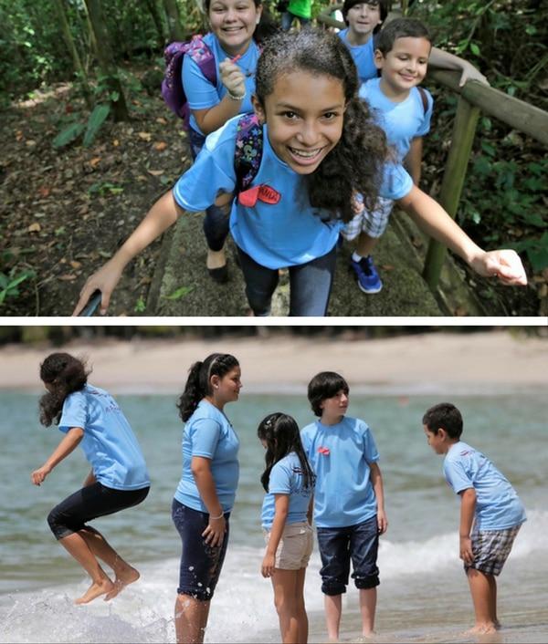 Los niños disfrutaron en el Parque Nacional Manuel Antonio, donde estuvieron en el mar y caminaron por los senderos.