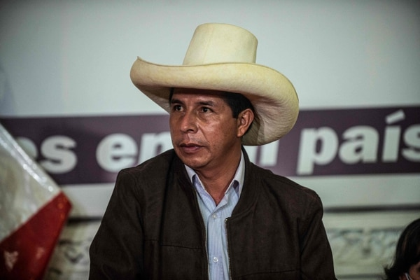 Peru's leftist presidential candidate Pedro Castillo, of the Peru Libre party, speaks during a press conference with the foreign press association at his party's headquarters in Lima on June 15, 2021. - Castillo, narrowly leading in the vote count, rejected calls from the right-wing camp for elections held nine days ago to be annulled.