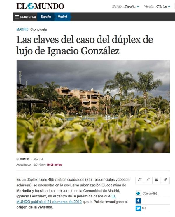 En el 2012, el medio español El Mundo dio a conocer que existía una investigación contra el presidente de la Comunidad de Madrid, y desde entonces, ha realizado varias publicaciones.   REPRODUCCIÓN
