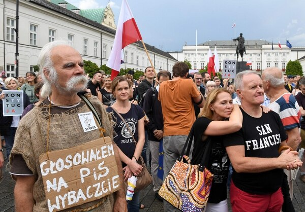 Una protesta en Varsovia, el 23 de julio del 2017, contra un proyecto de ley impulsado por el gobierno para introducir cambios en el sistema judicial.