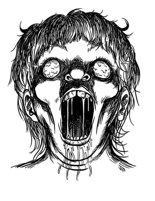Visiones. El libro cuenta con varias ilustraciones de Josué Garro. En la imagen, se aprecian Niño zombie , Chimino y Un brazo . Josué Garro para La Nación.