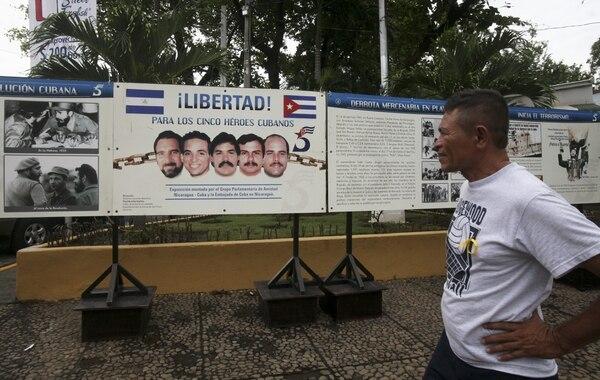 En Managua se dieron manifestaciones de apoyo a los cinco espías cubanos detenidos en Estados Unidos desde hace 15 años.