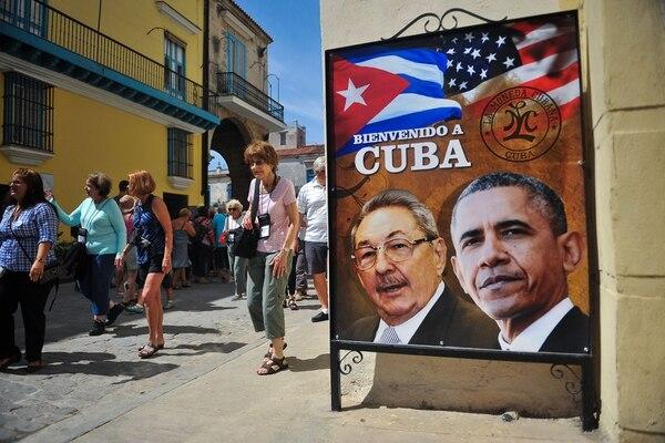 En las calles de La Habana, se colocaron imágenes alusivas a la visita de Barack Obama a Cuba en marzo del 2016.