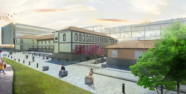 Proyecto de la empresa Sanjosereves. En el fondo se ve el edificio del plenario; en el centro, la fachada del Colegio de Sion (da al parque Nacional). Detrás del colegio aparece el muro conector con el pasadizo aéreo.
