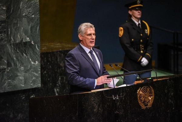 El presidente de Cuba, Miguel Díaz-Canel, pronunció este miércoles 26 de setiembre del 2018 su primer discurso ante la Asamblea General de la ONU.