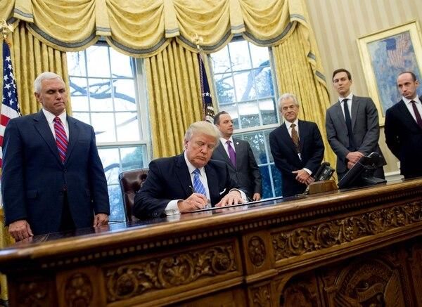 El presidente estadounidense Donald Trump firmó una orden ejecutiva el 23 de enero.