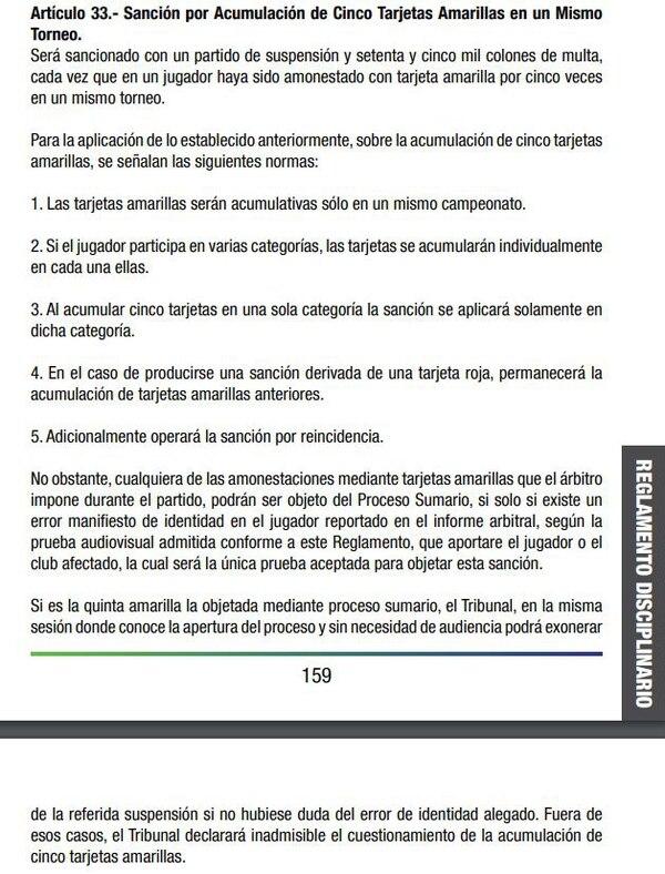En el apartado de la acumulación de cinco amonestaciones tampoco habla de una sanción de tres partidos por alguna situación en específico.