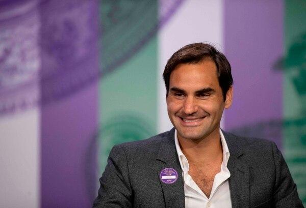 Róger Federer, durante la conferencia previa al arranque de Wimbledon. Fotografía: AFP.