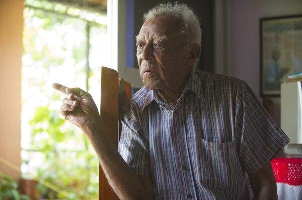 Walter Ferguson a sus 92 años. Foto Rebeca Arias