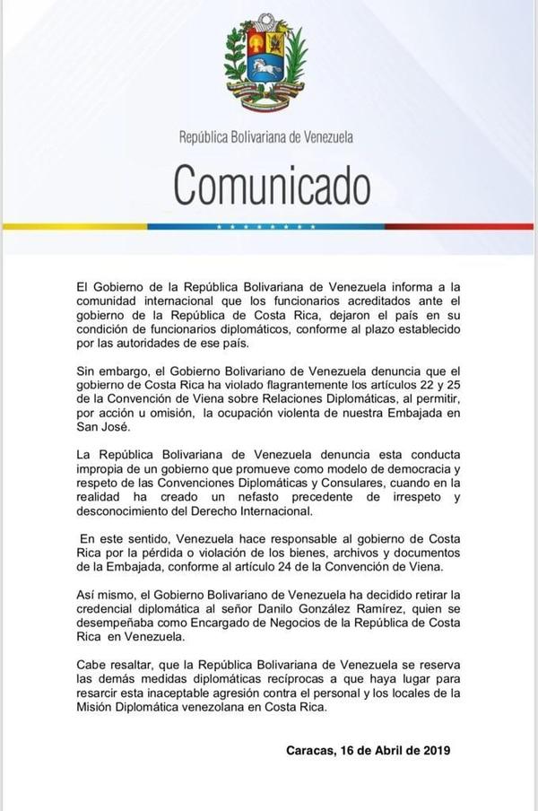 El canciller de Venezuela, Jorge Arreaza, emitió este comunicado este martes 16 de abril, en el cual anunció el retiro de credenciales al encargado de negocios de Costa Rica. Tomado de Twitter