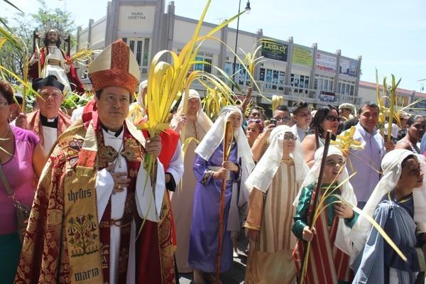 Acción. El grupo Alfa y Omega se volvió a unir en la procesión del Domingo de Ramos. Arquidiócesis de San José/LN