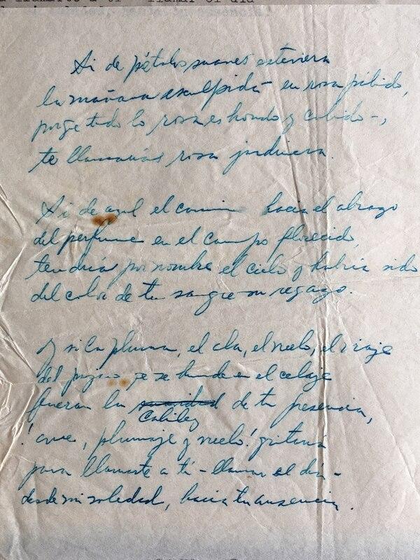 Manuscrito de uno de los poemas de Fabián Dobles. Cortesía de la familia Dobles