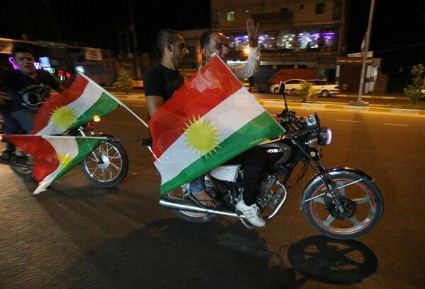 Kurdos iraquíes apoyaban este domingo 24 de setiembre del 2017, en la ciudad de Kirkuk, la celebración del referendo en aquella región autónoma.