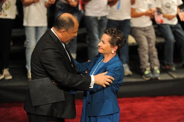 El presidente Luis Guillermo Solís presentó la candidatura de Christiana Figueres para la ONU, el 7 de julio en San José.   ARCHIVO/JEFFRY ZAMORA