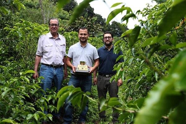 Johel Monge, Jorge Brenes y Matías Monge (izquierda a derecha), mostraron el trofeo ganador con el fondo del lote donde se cultivo el café calificado como el de más calidad.