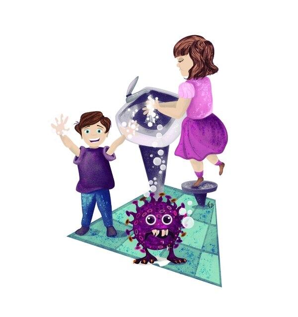 Lavarnos constantemente las manos con agua y jabón es una de las mejores armas para atacar al Coronavirus. Ilustración: Francela Zamora.