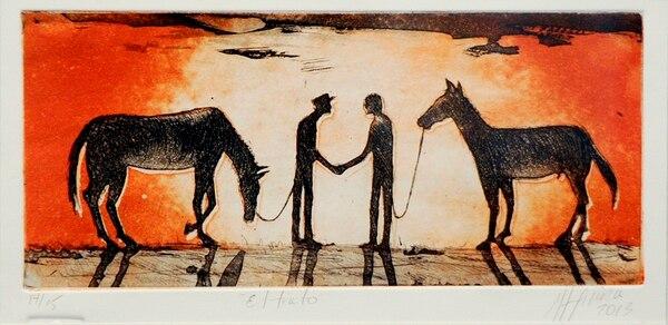 1. El trato , de Rudy Espinoza. Aguatinta a color. 18 x 36 cm. Año: 2013.