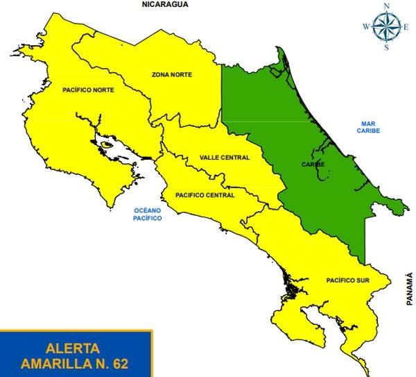 Todo el territorio está con alertas amarilla y verde, dependiendo de lo que ocurra el domingo, ciertas zonas podrían pasar a alerta naranja. Imagen: CNE.