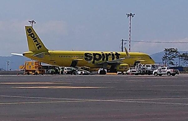 El deceso ocurrió en el vuelo de la aerolínea Spirit, de Miami al aeropuerto Juan Santamaría. Foto: Spotters Costa Rica.