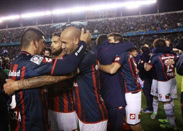 Los jugadores de San Lorenzo celebraron su pase a la final de la Copa Libertadores 2014.