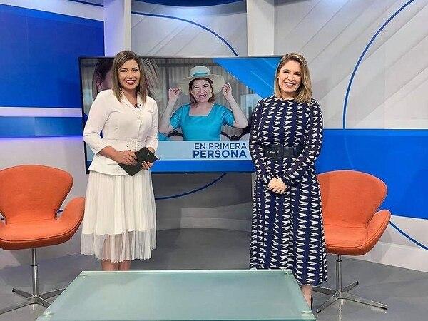 La periodista de Repretel, Melissa Durán, y la Primera Dama, Claudia Dobles, durante una entrevista reciente. FOTO IG