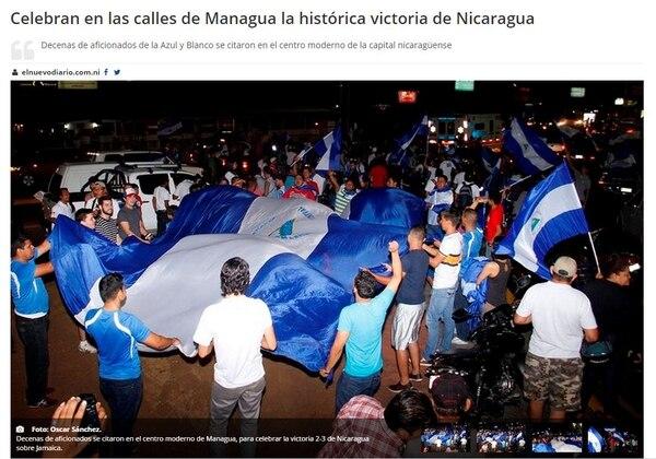 El Nuevo Diario informó que Nicaragua se convirtió en una locura tras el triunfo ante Jamaica.