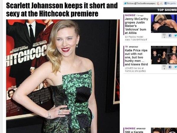Scarlett Johansson, a la llegada para la presentación de la película Hitchcock.   THESUN.CO.UK
