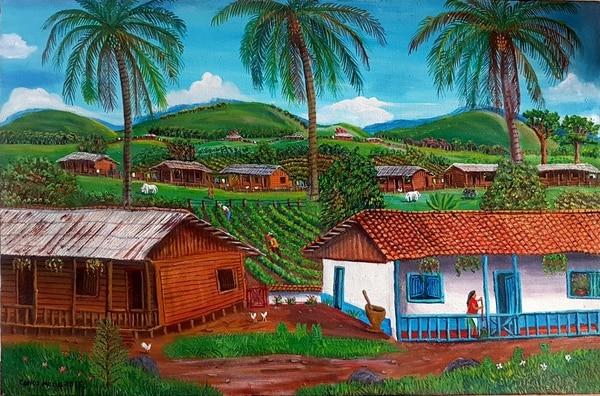 """La directora de la Biblioteca Nacional, Laura Rodríguez manifestó que escogieron el trabajo de Mena para exhibirlo """"porque destaca en su obra la historia, cultura de un pueblo de Costa Rica y, por lo tanto, contribuye al patrimonio costarricense"""". Foto: Cortesía del artista"""