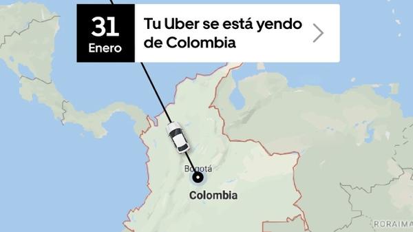 La empresa estadounidense Uber prepara su salida de Colombia tras un fallo judicial. Esta es la imagen que la compañía californiana publicó en sus redes sociales para anunciar su salida.