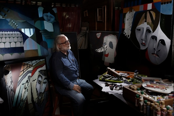 Retratos del pintor italo-costarricense Álvaro Bracci en su casa de habitación en La Uruca. Foto: Albert Marín.