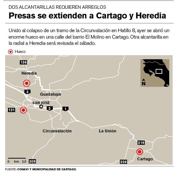 Presas se extienden a Cartago y Heredia