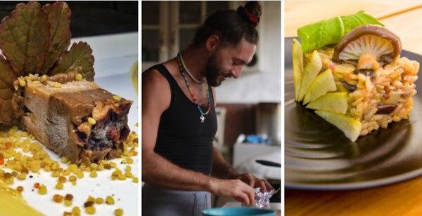 Noam Kostucki ofrece a los comensales un viaje culinario gourmet. En la imagen aparece un helado de choocolate, mani y aguacate (izq) y un risotto vegano (derecha). Foto: El Mundo de Noam para LN
