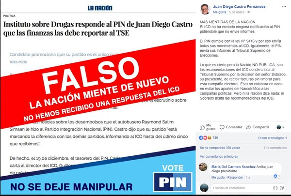 El 5 de enero, Castro publicó que aún no había recibido una respuesta del ICD, aunque tal entidad informó que ya le había indicado al PIN que la información financiera debía entregársela al TSE.