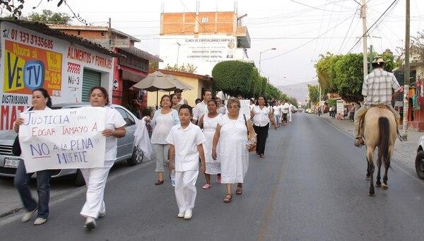 Familiares y amigos del mexicano Édgar Tamayo, condenado a la pena de muerte realizaron marcha en Miacatlán, estado de Morelos (México).