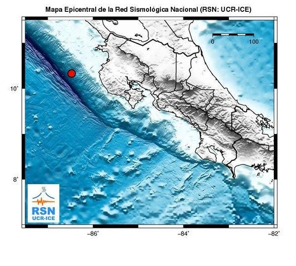 El epicentro se ubicó a 72 km al oeste de Cabo Velas de Santa Cruz, Guanacaste.