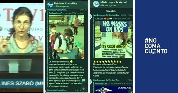 En un video que se divulga en Facebook entre usuarios costarricenses, la pediatra argentina Liliana Szabó afirma, falsamente, que las mascarillas les causan a los niños desde infecciones bucales y respiratorias, hasta muerte neuronal y otros daños psíquicos. Ideas erróneas similares se reproducen en canales de Telegram, como Patriotas Costa Rica y Médicos por la Verdad Costa Rica.