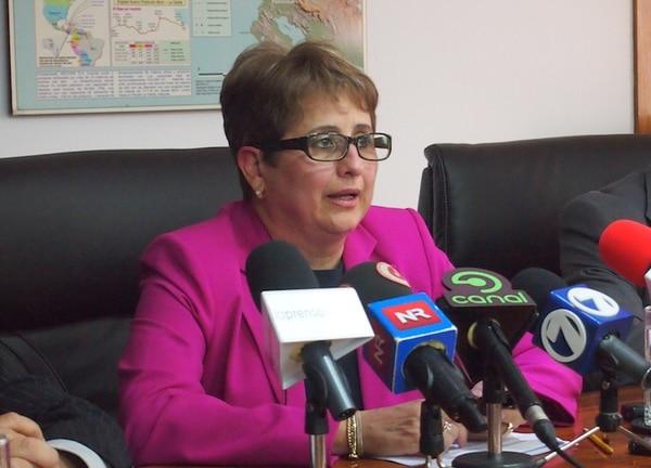 La presidenta de Recope, Sara Salazar, el 14 de agosto en conferencia de prensa.