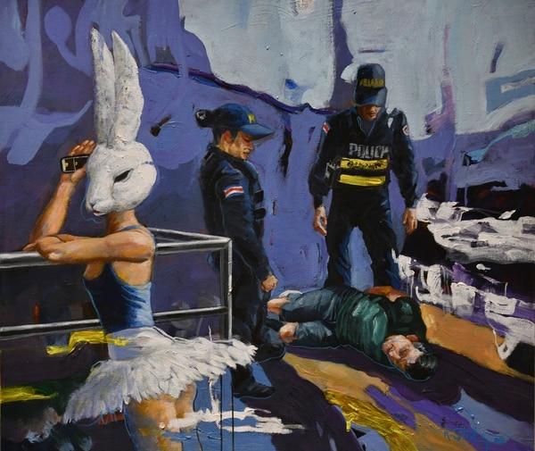 El surrealismo se mezcla con imágenes populares del imaginario costarricense dentro del mundo pintado por Rodolfo Stanley. Las bailarinas son un elemento tétrico que el pintor alajuelense aprovecha al máximo. Foto: Jorge Castillo