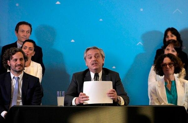 El presidente electo, Alberto Fernández, durante la ceremonia en la que anunció su gabinete, el 6 de diciembre del 2019.