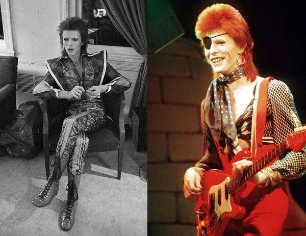 Andrógino. Tanto su alter ego Ziggy Stardust como Aladdin Sane utilizaban trajes ajustados, textiles psicodélicos y colores vibrantes como identificador.