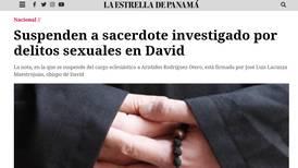 Iglesia de Panamá suspende a sacerdote detenido por abusos a menor de cinco años