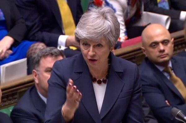 La primera ministra británica, Theresa May, intervino este miércoles 27 de marzo del 2019 durante una sesión de control político en la Cámara de los Comunes.
