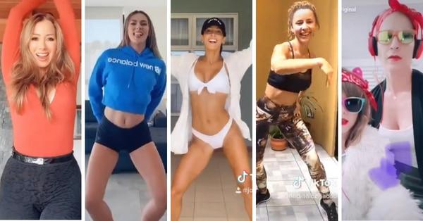 Elena Correa, Karina Ramos, Johanna Solano, Nadia Aldana y Viviana Calderón no se resistieron a la creativa moda de TikTok. Foto: Capturas de pantalla.